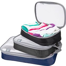 Travelon Set of 3 Lightweight Packing Organizers, Cool Tones