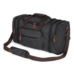 Plambag Canvas Duffle Bag for Travel, Oversized Duffel Overnight Weekend Bag(Dark Gray)