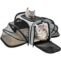 OMORC Pet Carrier Airline Approved, Expandable Foldable Soft-Sided Dog Carrier, 3 Open Doors, 2  ...