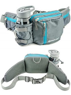 Aquatic Way Waist Bag Fanny Pack with Water Bottle Holder for Men Women Running Hiking Travel Bi ...
