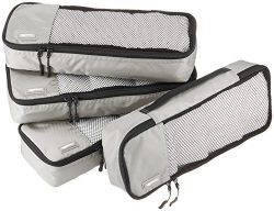 AmazonBasics 4 Piece Packing Travel Organizer Cubes Set – Slim, Grey