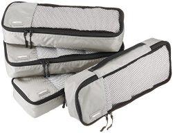 AmazonBasics 4 Piece Packing Travel Organizer Cubes Set – Slim, Grey
