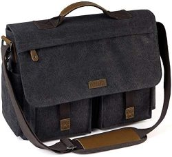 Messenger Bag for Men, VASCHY Vintage Water Resistant Waxed Canvas Satchel 15.6 inch Laptop Brie ...