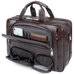 Leather Briefcase for Men,Laptop Bag Tote Messenger Bag Fits 16 Inch Computer,Carry On Luggage B ...
