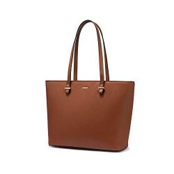 LOVEVOOK Computer Bags for Women Leather Tote Bag Laptop Handbag Work Purse,13.4-Inch, Brown