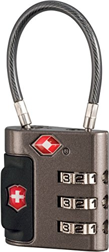 Victorinox Travel Sentry Approved Cable Lock, Grey/Red Logo