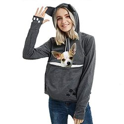Womens Pet Carrier Sweater Dog Cat Pouch Hoodies Plus Size Tops Dark Grey XL
