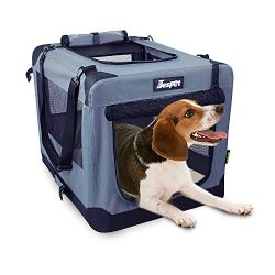 JESPET Soft Dog Crates Kennel for Pets, 3 Door Soft Sided Folding Travel Pet Carrier with Straps ...