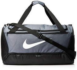 NIKE Brasilia Large Duffel – 9.0, Flint Grey/Black/White, Misc