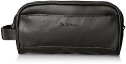 Ben Sherman Men's Mayfair Faux Leather Double Compartment Top Zip Travel Kit, Black