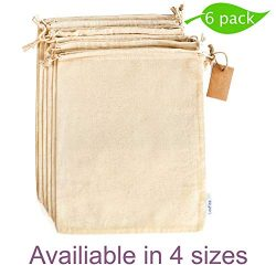 Cotton Produce Bags with Drawstrings for Bulk Food Storage, Reusable Muslin bags, Canvas Fabric  ...