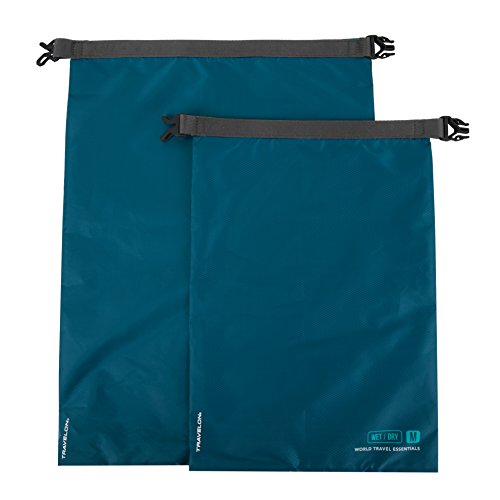 Travelon World Travel Essentials Set of 2 Dry Bags, Peacock Teal