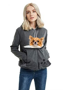 Unisex Pet Carrier Hoodie Cat Dog Pouch Holder Sweatshirt Shirt Top S Dark Grey