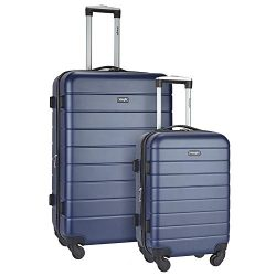 Wrangler 2 Piece Smart Hardside Spinner Luggage Set with USB Charging Port, Navy Blue Option