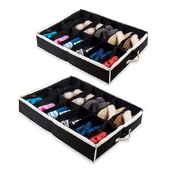 Woffit Under The Bed Shoe Organizer Fits 12 Pairs – Made with Sturdy & Breathable Mate ...