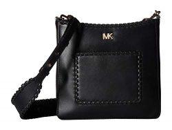 Michael Kors Gloria Whipstitched Leather Messenger Bag- Black