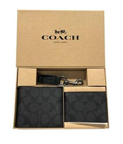 Coach Men's 3 in 1 Wallet With Coach Signature Print Gift Set, Style F41346, Black oxblood