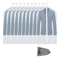 VICKERT Hanging Garment Bag Lightweight Suit Bags, 10 Pack Dust-Proof Clear Garment Bags, Dress  ...