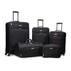 American Tourister Fieldbrook XLT Softside Luggage, Black, 5-Piece Set