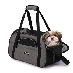Jespet Soft Pet Carrier for Small Dogs, Cats, Puppy, 17″ Airline Approved Portable Carrier ...