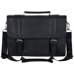 Ben Sherman Leather Double Compartment 15″ Flapover Laptop Business Portfolio (RFID), Black
