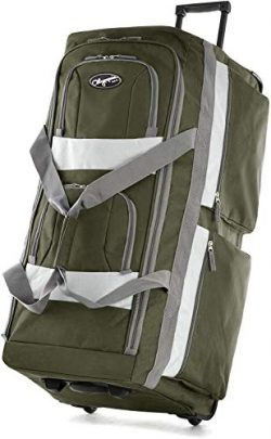 Olympia 8 Pocket Rolling Duffel Bag, Green