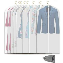 VICKERT Hanging Garment Bag Lightweight Suit Bags, 8 Pack Dust-Proof Clear Garment Bags, Dress G ...