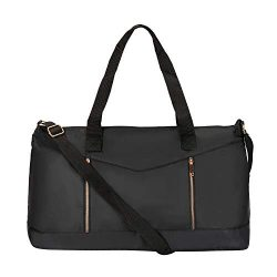 Dolce Vita Women's Nylon Gym Overnight Travel Carry-On Medium Duffel Bag Black