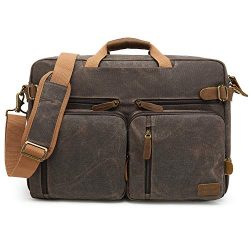 CoolBELL Laptop Messenger Bag Vintage Shoulder Bag Convertible Backpack Retro Briefcase Versatil ...