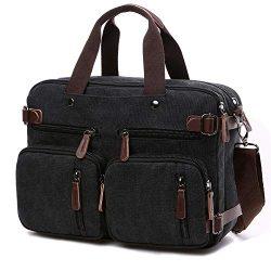 Convertible Laptop Backpack 17.3 Inch Messenger Bag for Men/Women (Black)