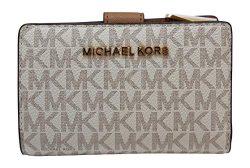 Michael Kors Jet Set Travel PVC Signature Bifold Zip Coin Wallet Clutch (Vanilla 2018)