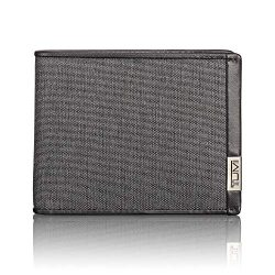 TUMI – Alpha Global Double Billfold Wallet with RFID ID Lock for Men – Anthracite/Black