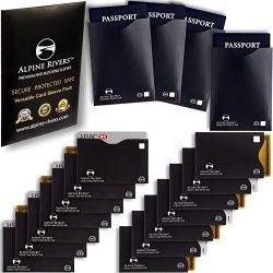 18 RFID Blocking Sleeves (14 Credit Card Holders & 4 Passport Protectors) Ultimate Premium I ...