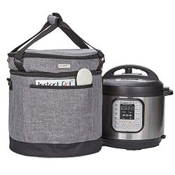 HOMEST 2 Compartments Carry Bag Compatible with 3 Quart Instant Pot, These Pressure Cooker Trave ...
