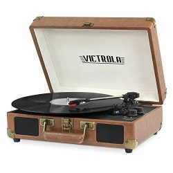 Victrola Vintage 3-Speed Bluetooth Suitcase Turntable with Speakers, Brown