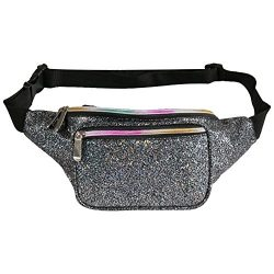 Fotociti Holographic Fanny Pack- Fashion Rave Waist Bag with Adjustable Belt for Women and Men