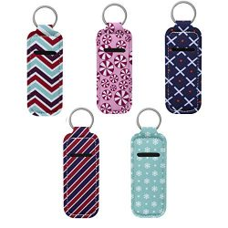 Beautyflier Clip-on Sleeve Chapstick Pouch Keychain Lipstick Holder Elastic Lip Balm Holster Tra ...