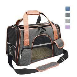 Purrpy Premium Cat Dog Carrier Airline Approved Soft Sided Pet Travel Bag, Car Seat Safe Carrier ...