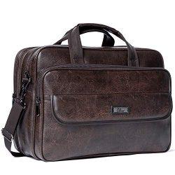Leather Briefcases for Men Expandable 15.6 Inch Laptop Bag Large Business Vintage Travel Compute ...