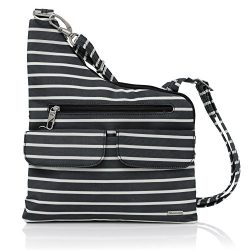 Travelon Anti-Theft Cross-Body Bag, Two Pocket (Black W/White Stripe – Exclusive Color)
