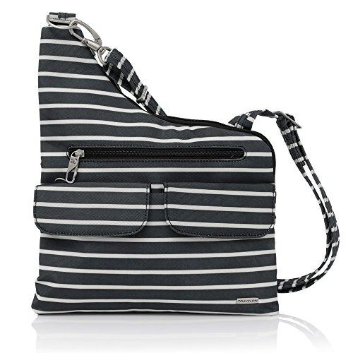 Travelon Anti-Theft Cross-Body Bag, Two Pocket (Black W/White Stripe – Exclusive Color)