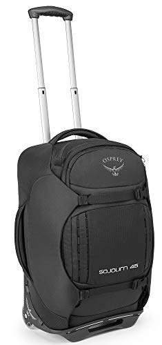 Osprey Packs Sojourn Wheeled Luggage, Flash Black, 45 L/22″