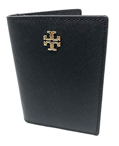 Tory Burch Women's Emerson Saffiano Leather Foldable Card ID Case Wallet (Black)
