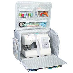 Everything Mary 4 Wheels Collapsible Deluxe Sewing Machine Storage Case, White – Rolling T ...
