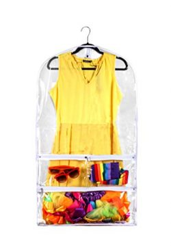 Clear Gusseted Suit Garment Bag 20 inch x 38 inch Dance, Dress, and Costumes Hanging Travel Stor ...
