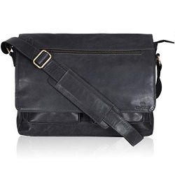 Leather Messenger Bag for Men & Women 14inch laptop Bag for Travel College Work – Hand ...