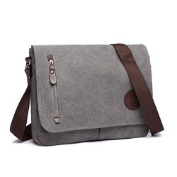 Kono Canvas Laptop Messenger Bag Women Men Canvas Satchel Shoulder Bag 13.5″ Messenger Lap ...