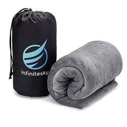 InfiniteSky Portable Fleece Travel Blanket with Stuff Sack | Soft Plush Airplane Blanket – ...