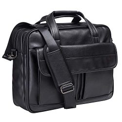 Mens Laptop Bag,15.6 Inch Leather Messenger Bag Water Resistant Business Travel Briefcase, Work  ...