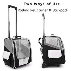 Lollimeow Pet Rolling Carrier, Dog Backpack with Wheels,Cats,Puppies Travel Bag with Wheels,Dog  ...